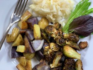 meal with brussel sprouts and potatoes