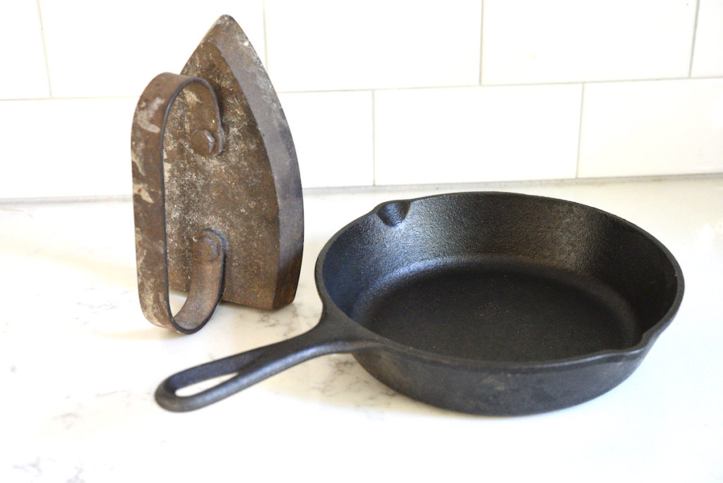 old hot iron and cast iron skillet